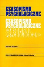 Czasopismo Psychologiczne Psychological Journal Tom 19 numer 1