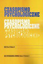 Czasopismo Psychologiczne Psychological Journal Tom 19 numer 2