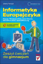 Okładka książki Informatyka Europejczyka. Zeszyt ćwiczeń dla gimnazjum. Edycja: Windows Vista, Linux Ubuntu, MS Office 2007, OpenOffice.org