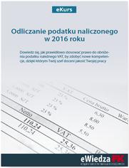 eKurs Odliczanie podatku naliczonego w 2016 roku