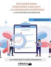 Przygotowanie do roku szkolnego 2020/2021 - 23 obowiązki dyrektora