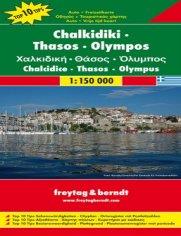 Chalkidiki Thassos Olimp. Mapa samochodowa
