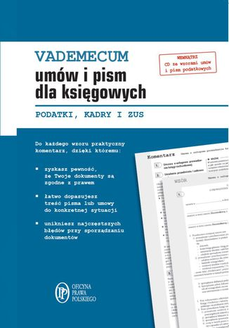 Okładka książki/ebooka Vademecum umów i pism dla księgowych. Podatki. Kadry. ZUS