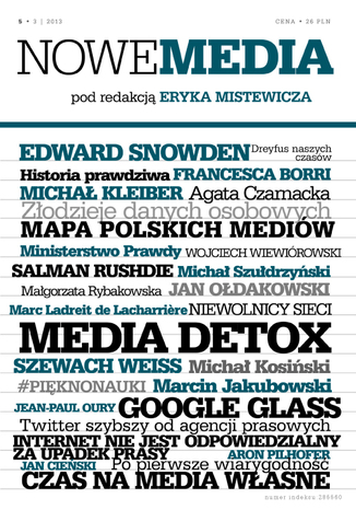 Okładka książki/ebooka NOWE MEDIA pod redakcją Eryka Mistewicza Kwartalnik 5/2013