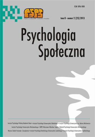 Okładka książki/ebooka Psychologia Społeczna nr 2(25)/2013
