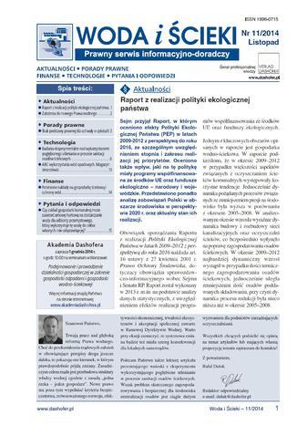 Okładka książki/ebooka Woda i ścieki nr.11/2014