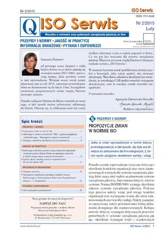 Okładka książki/ebooka ISO Serwis. Wszystko o normach i systemach zarządzania jakością. Nr 2/2015