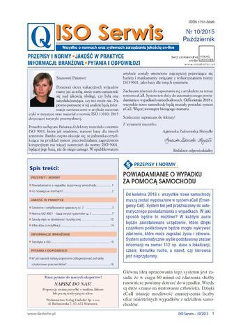 Okładka książki/ebooka ISO Serwis. Wszystko o normach i systemach zarządzania jakością. Nr 10/2015
