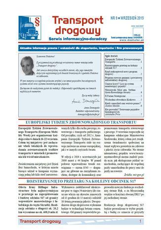 Okładka książki/ebooka Transport drogowy. Aktualne informacje prawne i wskazówki dla eksporterów, importerów i firm przewozowych. Nr 9/2015