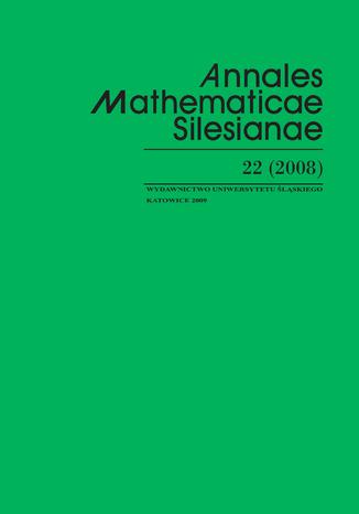 Okładka książki/ebooka Annales Mathematicae Silesianae. T. 22 (2008)