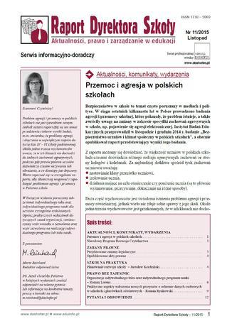 Okładka książki/ebooka Raport Dyrektora Szkoły on-line ONNRDS 11/2014