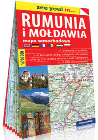 Okładka książki/ebooka Rumunia i Mołdawia papierowa mapa samochodowa 1:700 000