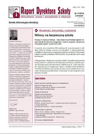 Okładka książki/ebooka Raport dyrektora szkoły nr.11/2014
