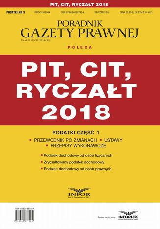 Okładka książki/ebooka PIT, CIT, ryczałt 2018. Podatki część 1