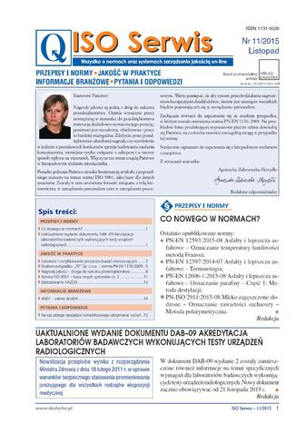 Okładka książki/ebooka ISO Serwis. Wszystko o normach i systemach zarządzania jakością. Nr 11/2015
