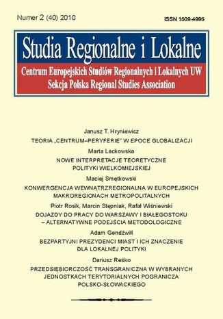 Okładka książki/ebooka Studia Regionalne i Lokalne nr 2(40)/2010