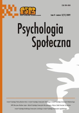 Okładka książki/ebooka Psychologia Społeczna nr 3(11)/2009