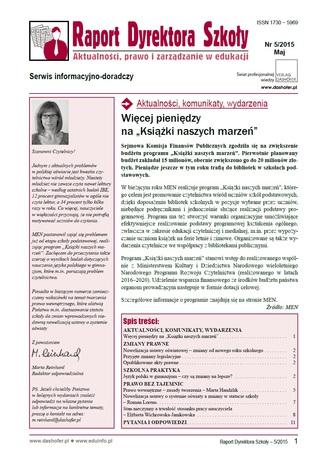 Okładka książki/ebooka Raport Dyrektora Szkoły. Aktualności, prawo i zarządzanie w edukacji. Nr 5/2015