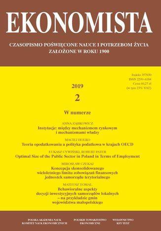 Okładka książki/ebooka Ekonomista 2019 nr 2