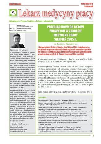 Okładka książki/ebooka Lekarz Medycyny Pracy on-line Nr.10/2015