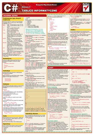 Okładka książki/ebooka Tablice informatyczne. C#. Wydanie II