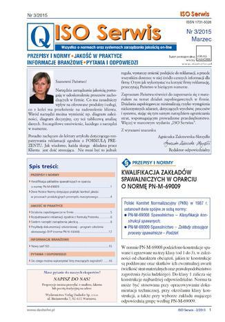 Okładka książki/ebooka ISO Serwis. Wszystko o normach i systemach zarządzania jakością. Nr 3/2015