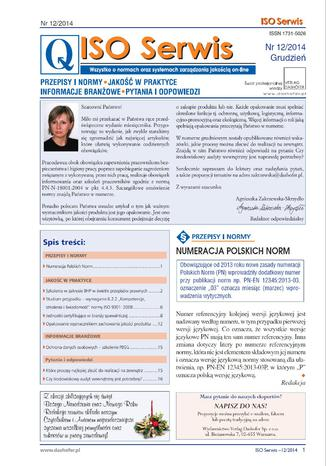 Okładka książki/ebooka ISO Serwis. Wszystko o normach i systemach zarządzania jakością. Nr 12/2014