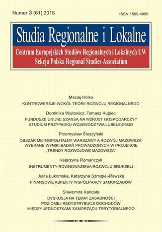 Okładka książki/ebooka Studia Regionalne i Lokalne nr 3(61)/2015 - Sławomira Kańduła: Dyskusja na temat zasadności poziomej redystrybucji dochodów między jednostkami samorządu terytorialnego