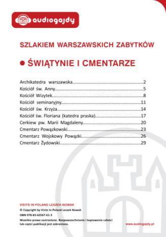 Okładka książki/ebooka Świątynie i cmentarze. Szlakiem warszawskich zabytków