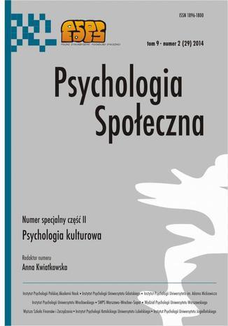 Okładka książki/ebooka Psychologia Społeczna nr 2(29)2014 - M. Żemojtel-Piotrowska: Kulturowe wymiary postaw roszczeniowych