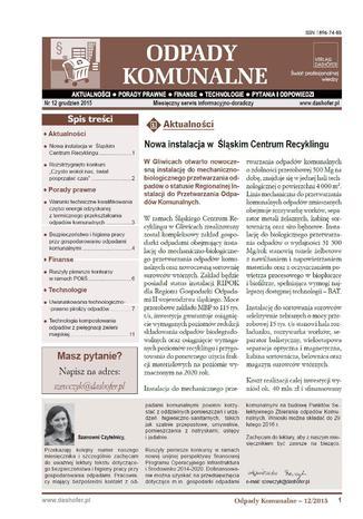 Okładka książki/ebooka Odpady komunalne. Nr 12/2015