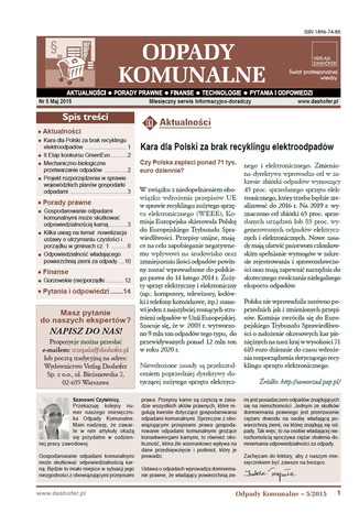Okładka książki/ebooka Odpady komunalne. Nr 5/2015