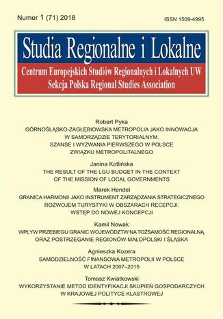 Okładka książki/ebooka Studia Regionalne i Lokalne nr 1(71)/2018
