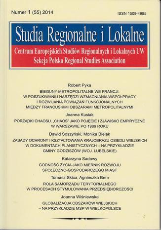 Okładka książki/ebooka Studia Regionalne i Lokalne nr 1(55)/2014 - Tomasz Skica, Agnieszka Bem: Rola samorządu terytorialnego w procesach stymulowania przedsiębiorczości