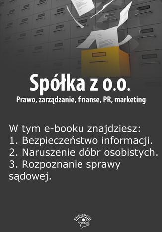 Okładka książki/ebooka Spółka z o.o. Prawo, zarządzanie, finanse, PR, marketing, wydanie maj 2014 r