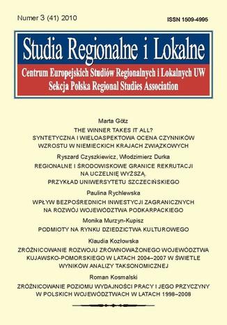 Okładka książki/ebooka Studia Regionalne i Lokalne nr 3(41)/2010