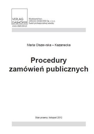 Okładka książki/ebooka Procedury zamówień publicznych