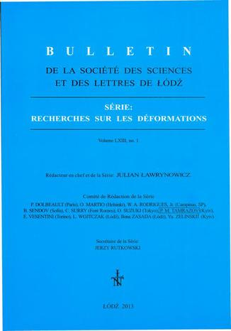 Okładka książki/ebooka Bulletin de la Société des sciences et des lettres de Łódź, Série: Recherches sur les déformations t. 63 z. 1
