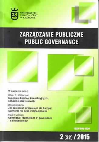 Okładka książki/ebooka Zarządzanie Publiczne nr 2(32)/2015 - Oliver E. Williamson: Ekonomia kosztów transakcyjnych: naturalne etapy rozwoju. Wyklad noblowski wygłoszony 8 grudnia 2009 r