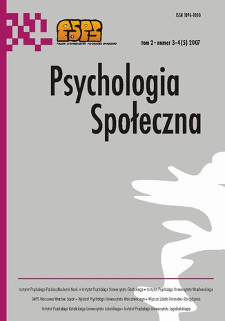 Okładka książki/ebooka Psychologia Społeczna nr 3-4(5)/2007