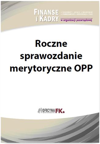 Okładka książki/ebooka Roczne sprawozdanie merytoryczne OPP