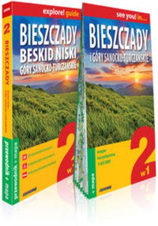 Okładka książki/ebooka Bieszczady, Beskid Niski, Góry Sanocko-Turczańskie 2w1 przewodnik  + mapa