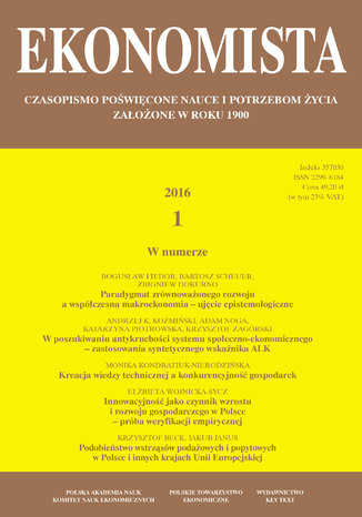 Okładka książki/ebooka Ekonomista 2016 nr 1