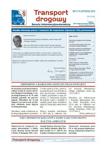 Okładka książki/ebooka Transport drogowy. Aktualne informacje prawne i wskazówki dla eksporterów, importerów i firm przewozowych. Nr 11/2015