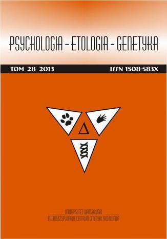 Okładka książki/ebooka Psychologia-Etologia-Genetyka nr 28/2013 - Urszula Barańczuk, Bogdan Zawadzki: Temperament, poznawcza regulacja stanów afektywnych oraz poziom nastroju w zaburzeniu stresowym pourazowym