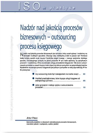 Okładka książki/ebooka Nadzór nad jakością procesów biznesowych - outsourcing procesu księgowego