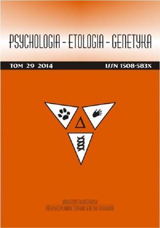 Okładka książki/ebooka Psychologia-Etologia-Genetyka nr 29/2014 - PTSD i psychospołeczne uwarunkowania nasilenia bólu w przewlekłych zespołach bólowych: przegląd badań