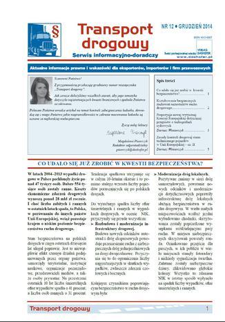 Okładka książki/ebooka Transport drogowy. Aktualne informacje prawne i wskazówki dla eksporterów, importerów i firm przewozowych. Nr 12/2014