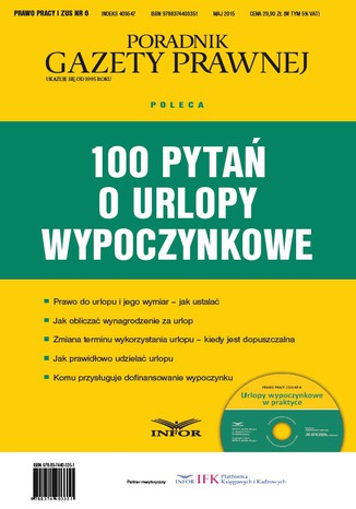 Okładka książki/ebooka 100 pytań o urlopy wypoczynkowe