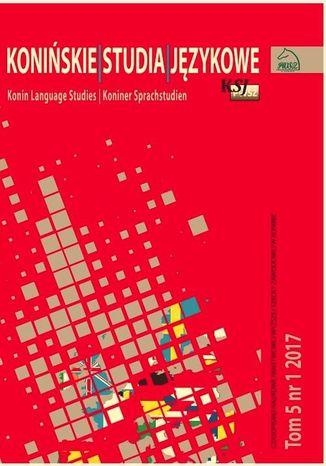 Okładka książki/ebooka Konińskie Studia Językowe Tom 5 Nr 1 2017
